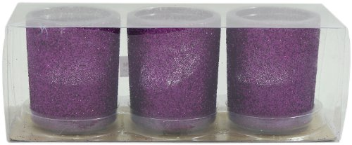 Arts Craft Glitter Glass Holder With Tealights, Purple, Set Of 3