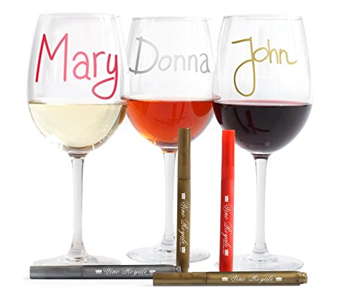 VinoRoyale Wine Glass Markers - 4-Set Quality Metallic Ink Pens - Perfect Hostess or Wine Enthusiast Gift - No Need for Charms or Tags - Write on Glass, Ceramic & Crystal