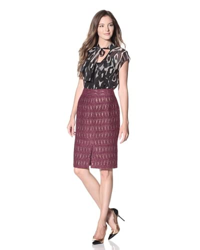 Craig Taylor Women's Giovanna Boucle Skirt with Gold Accents  - Plum Gold