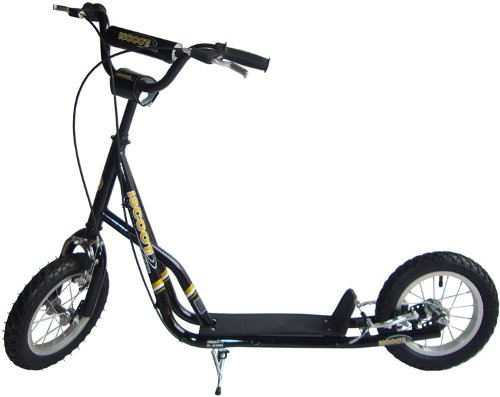 "iScoot Black Push Scooter Bike with Monster Wheels (12"") - The ultimate Push Bicycle for girls / boys / kids and children"
