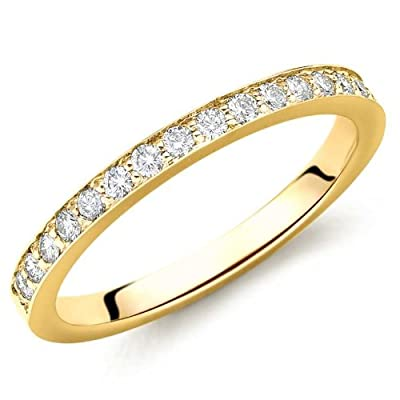 F/VS 0.18 Carat Pave Set Diamond Half Eternity Ring,18k Yellow Gold