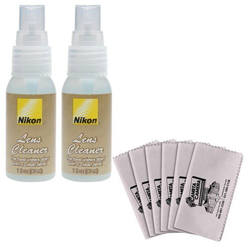 (2) Nikon Lens Cleaner Fluid Spray Bottles + 6 Microfiber Cleaning Cloths For D3100, D3200, D5100, D5200, D600, D800, D4 Digital Slr Cameras