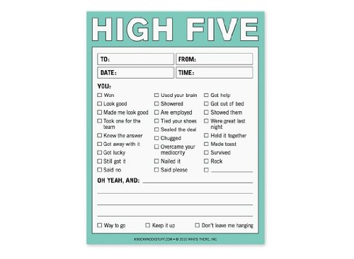 Novelty Notepad Nifty Notes High Five