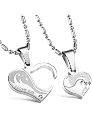 2pcs Men And Women Couple Stainless Steel Necklace Sets I Love You Heart Shape Pendant (Set Of 2)