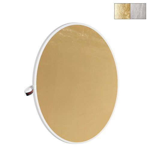 Disco reflector plegable Photoflex Litedisc de 42, color plateado y dorado.