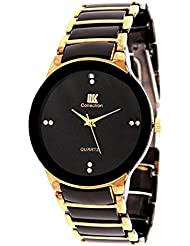 Gabani Fabric IIK COLLECTION Black & Gold Metal Analog Watch