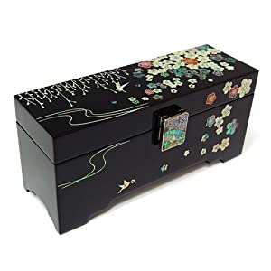 Mother of Pearl Willow Tree Flower Design Asian Lacquer Wooden Black Jewelry Case Trinket Keepsake Treasure Gift Box Organizer