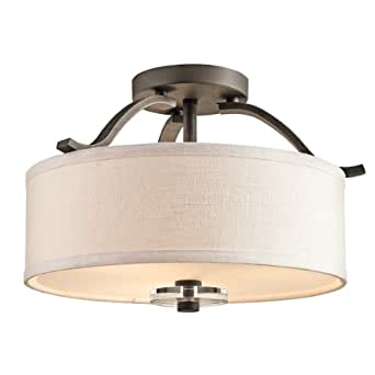 Kichler Lighting 42485OZ Leighton 3-Light Semi-Flush Ceiling Light, Olde Bronze and White Fabric Shades with Satin-Etched Glass