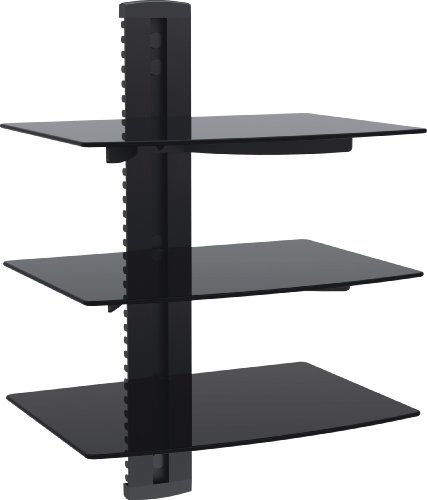 Vonhaus By Designer Habitat 3X Black Floating Shelves With Strengthened Tempered Glass For Dvd Players/Cable Boxes/Games Consoles/Tv Accessories