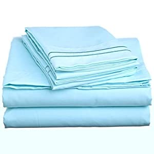 #1 Exotic Bedding Collection By Bombay Linens 1300 Thread Count King Size Sky Blue Color 100% Egyptian Quality Supreme Solid Pattern 4 Piece Sheet Set