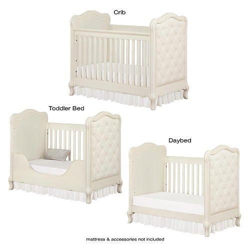 Bertini Tinsley 3-in-1 Upholstered Crib - Antique White 2