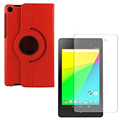 DMG PU Leather 360 Degrees Rotating Stand Case for Asus Google Nexus 7 (2013) (Red) + Matte Anti-Glare Screen Protector