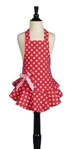 Jessie Steele Children's Bib Josephine Red and Pink Polka Dot Apron
