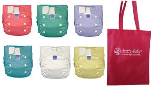 Bambino Mio Mio Solo One Size Cloth Diaper 6 Pack Gender Neutral Colors, With Reusable Dainty Baby Bag Bundle back-229574
