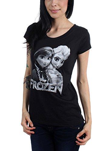 Freeze-Juniors-Frozen-Sisters-cuello-redondo-camiseta-Negro-negro-Large