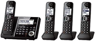 Panasonic Black Digital Cordless Phone And Answering Machine With 4 Handsets - KX-TGF344B