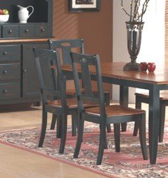 Set of 2 Black & Teak Weathered Finish Wood Dining Chairs