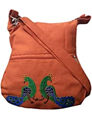 Fly Angels Women's Orange Peacock Sling Bag With Embroidery (orange)