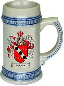 Shipman Family Crest Stein / Coat of Arms beer mug