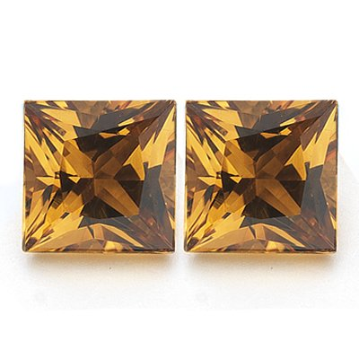 2.10 Cts of AAA 6 mm Princess Matching Loose Citrine ( 2 pcs set ) Gemstones
