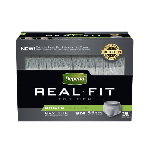 Depend Underwear Real Fit Maximum Absorbency for Men, Small/Medium, 12 Count (Pack of 4)