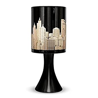 Gloss black touch table lamp with new york skyline shade lighting - Black touch lamps bedside ...