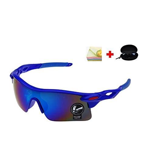 JapaNice スポーツ サングラス 【 自転車 ドライブ ゴルフ ランニング 釣り スキー に 人気 で おしゃれ な 破損防止加工 レンズ 採用 】 『 花粉 花粉症 メガネ にも』 UV400 紫外線 99.9%カット! メガネ ケース + 眼鏡 拭きの嬉しい3点セット! メンズ レディース 兼用 レンズカラー ミラー SP-008BR