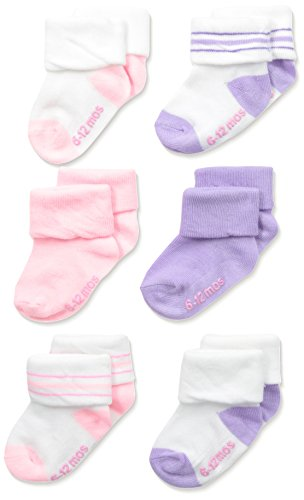 Hanes Toddler Girls Toddler 6-Pack Turncuff Socks, Assorted, 6/4T-5T