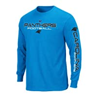 NFL Carolina Panthers Primary Receiver III Long Sleeve T-Shirt, Electric Blue, Small by NFL
