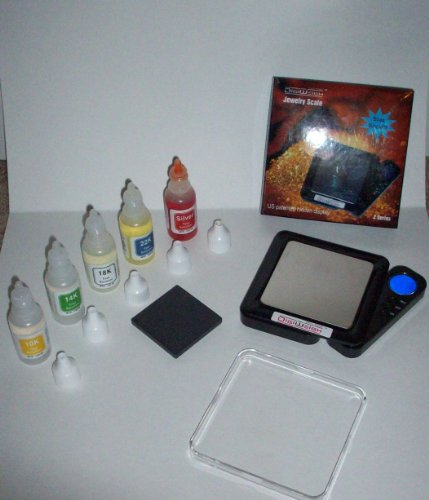 Ultimate Silver & Gold Testing Kit! Nitric Acid Test Solutions, Stone, and Jewelry Scale!