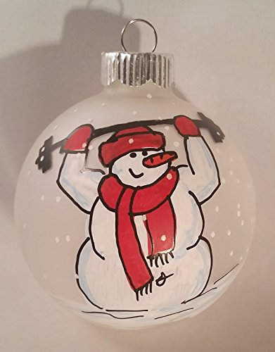 Snowman Ornament Lifting Weights Fitness
