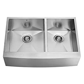 Vigo VG3620BL 36-inch Farmhouse 16 Gauge Double Bowl Kitchen Sink, Stainless Steel