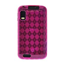 Amzer 90529 Luxe Argyle High Gloss TPU Soft Gel Skinase - Hot Pink For Motorola ATRIX MB860