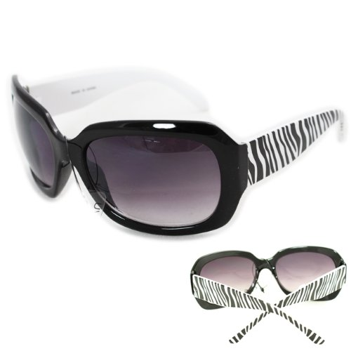 HOTLOVE Premium Sunglasses UV400 Lens Technology - Unisex P1436 Animal Zebra Print Fashion Design Black Frame Glassy Finish w Dark Gradient - Perfectly Match Everyday Apparel for Women & Men