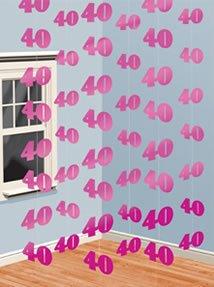 PINK 6er SET 40.Geburtstag Girlanden PARTY DEKO