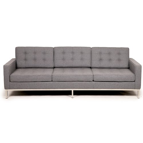 Leather sofa kardiel florence knoll style sofa 3 seat for Leather and tweed sofa