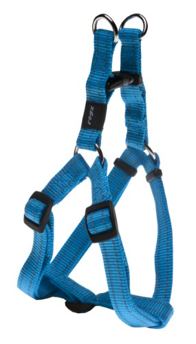 Rogz Utility Medium 5/8-Inch Reflective Snake Adjustable Dog Step-in-Harness, Turquoise