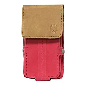 Jo Jo A6 Nillofer Series Leather Pouch Holster Case For Samsung Guru 1200 Red Tan
