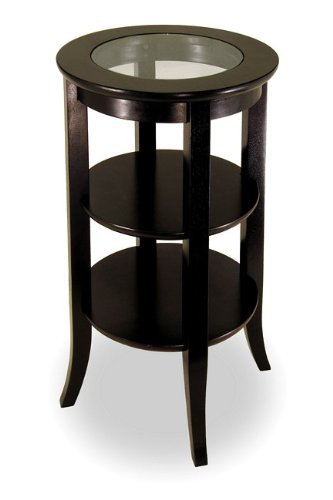 Image of Round Hardwood/glass End Table, Tall (espresso) (30.2
