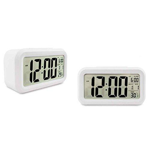 Soondar® Digital LCD Large Screen Desk Bedside Alarm Clock with Snooze Light Function Batteries Powered for Children Women Elderly People - WHITE