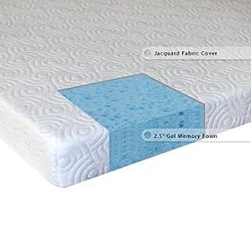 Sleep Master 2.5 Inch Gel Memory Foam Mattress Topper, Queen   Bed