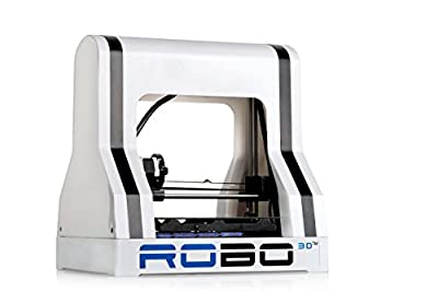 "ROBO 3D R1 Fully Assembled 3D Printer, 8"" x 9"" x 10"" Maximum Build Dimensions, 100 Micron Maximum Resolution, 1.75-mm ABS, PLA, T-Glase, Laywood, HIPS, and Flexible Filament"