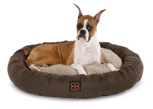 Petego Velvety Donut Round Bolster Pet Bed, Large, Espresso/Stone/Sage