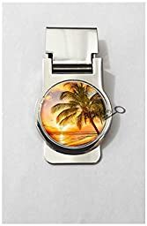 BlackKey Palm Trees Tropical Beach Ocean Breeze with Sun - Summer Metal Clip for Receipt, Money, Business Card & Credit Card, Style 2 -108