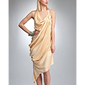 bebe Silk Drape Halter Dress :  neutral runway