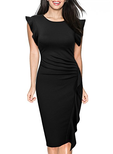 Miusol Women's Retro Ruffles Cap Sleeve Slim Business Pencil Cocktail Dress (Small, Black)