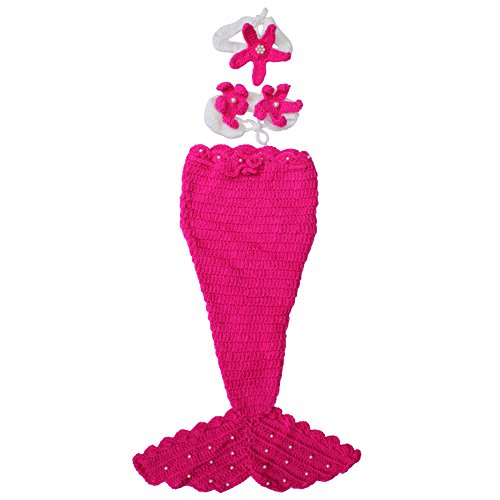 Knitting Pattern For Baby Mermaid Outfit : Newborn Baby Crochet Knit Flower Mermaid Costume Photo Photography Prop Outfi...