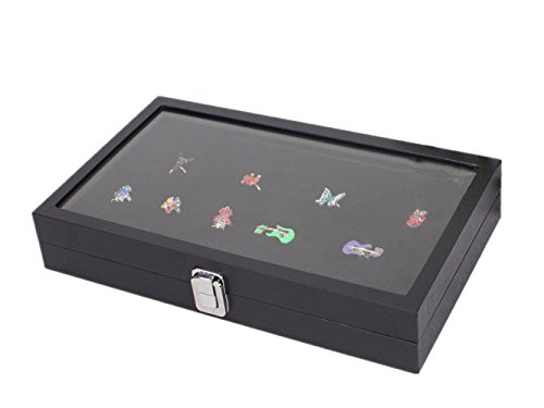 72 Slot Jewelry Display Case Glass Top Ring Insert Display Showcase Ring Tray, Black (Shot Glass Display Case 72 compare prices)