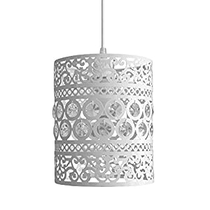 Modern Ornate Drum Shabby Chic Ceiling Pendant Light Shade from MiniSun
