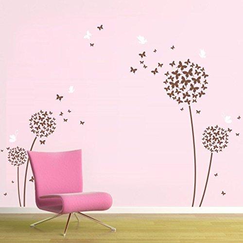 Dandelion Wall Decal Flower Vinyl Sticker Children Room Wall Decoration Art (X-Large, Flowers-White;Butterflies-Dark Brown) (Brown Flower Wall Decal Stickers compare prices)